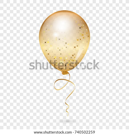 Balloon - Vector illustration of gold shiny balloon - transparent background