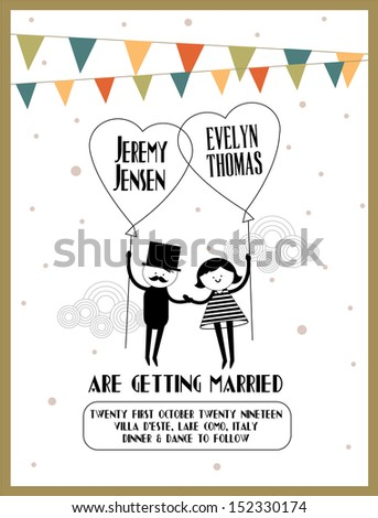 balloon wedding invitation card template vector/illustration