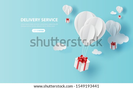Balloon white floating on sky.Delivery service with Gift Box on air blue background.happy new years and merry Christmas.Festival transportation concept.Creative paper cut and craft style vector EPS10