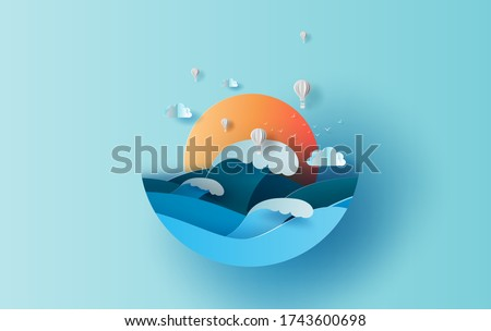 Balloon white hot air of Sea wave view landscape sunlight. travel in holiday summer season circle concept. Graphic design paper cut and craft style. Simple Vacation summertime idea pastel background Stock photo ©