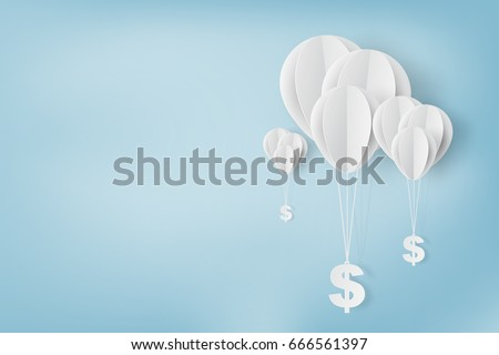 Balloon with dollar sign fly on air sky .Business finance and management concept.Creative origami paper art and cut style for banner web.Minimal graphic money technology ideas vector illustration.
