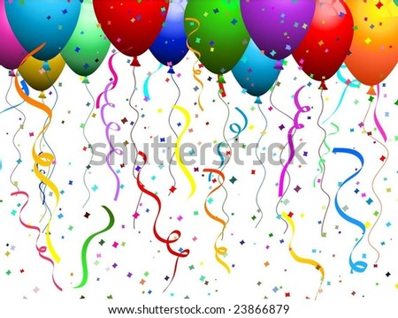 clip art balloons and confetti. stock vector : alloons and