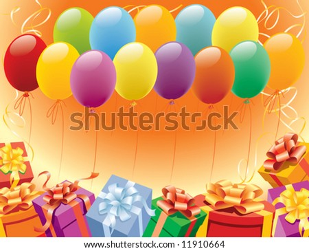 Balloons and presents for birthday and party - stock vector