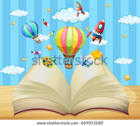 Balloons and rockets flying out of book illustration
