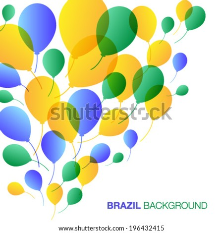 Balloons Background using Brazil flag colors vector illustration