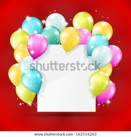 balloons card on red