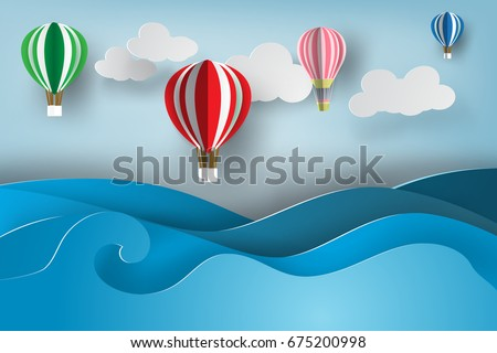 Balloons colorful on sea view with blue sky.Creative simple paper art and craft style.Landscape travel adventure summer season.Graphic Nature ocean seascape.Minimal design element.vector illustration