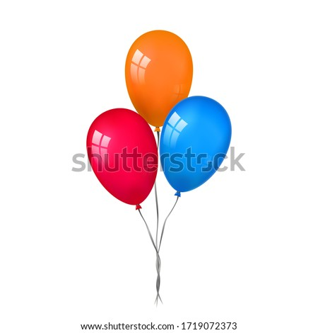 Balloons 3D bunch set, thread, isolated white background. Color glossy flying baloon, ribbon, birthday celebrate, surprise. Helium ballon gift. Realistic shape, design happy bday. Vector illustration