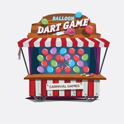 balloons dart game. carnival cart concept - vector illustration