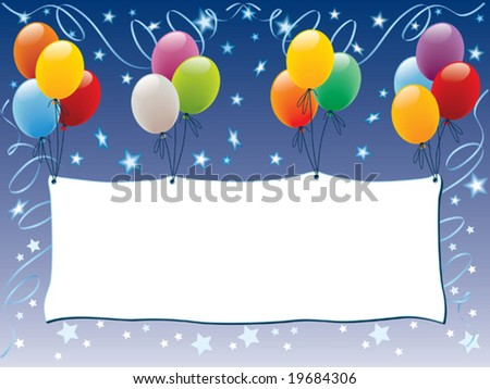 Balloons decoration with a blank banner and shining stars
