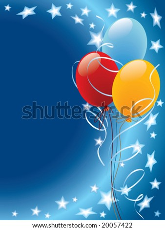 Balloons decoration with stars and wind on a blue background