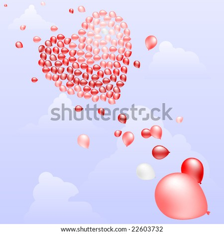 Balloons floating in sky to form a heart vector - stock vector