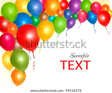 Balloons frame composition with space for your text. Vector illustration.