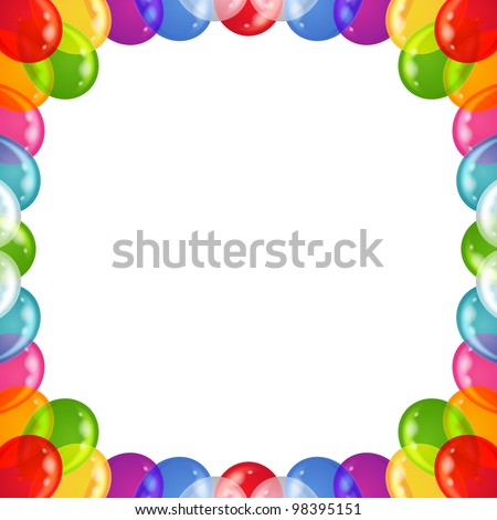 Balloons frame of various colors, beautiful background, isolated, eps10, contains transparencies. Vector