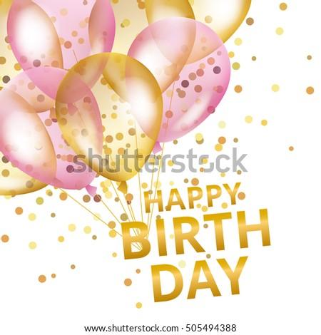 balloons happy birthday gold