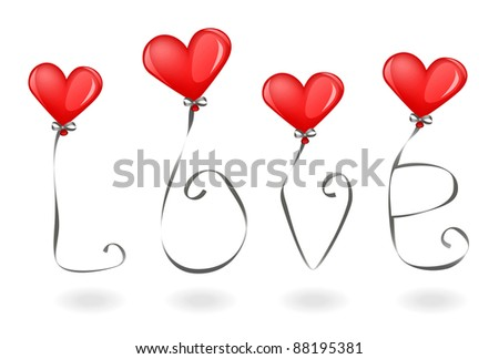 balloons in the form of hearts