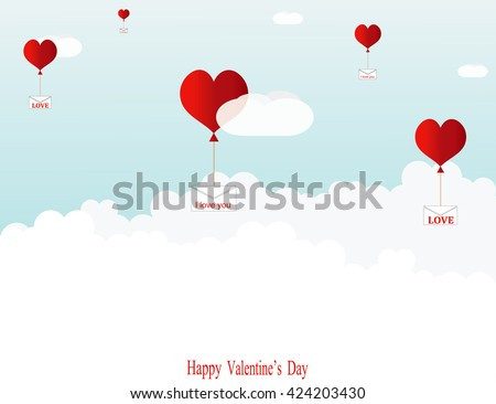 Balloons in the shape of hearts are flying among the clouds, delivering love letters. #424203430