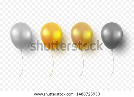 Balloons isolated on transparent background. Glossy gold, silver, black festive 3d helium balloons. Vector realistic translucent golden baloons mockup for anniversary, birthday party design