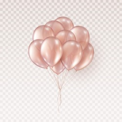 Balloons isolated on transparent background. Vector realistic bunch of helium golden rose birthday balloons template.
