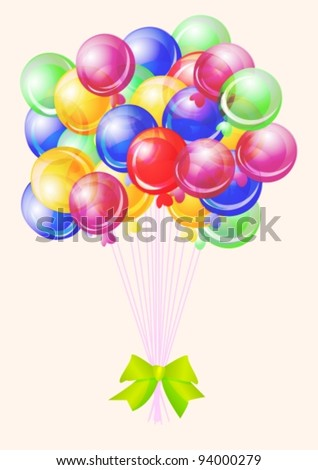 Balloons party happy birthday decoration multicolored translucent,vector  illustration