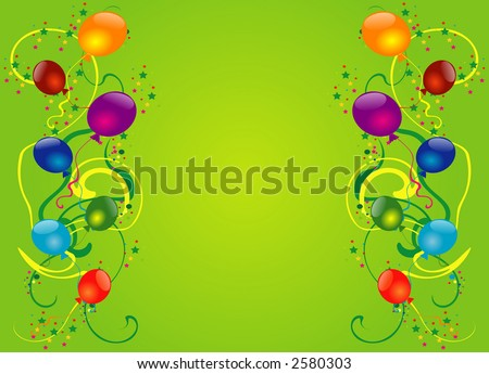 clip art balloons and confetti. stock vector : Balloons