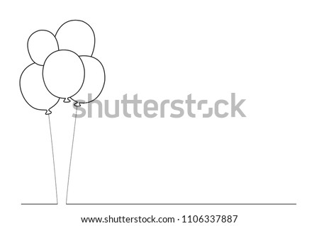 Balloons thin line isolated on white background. Trendy balloons for web site, poster,placard,print material and mobile app. Creative art for greeting cards, modern drawing concept,vector illustration