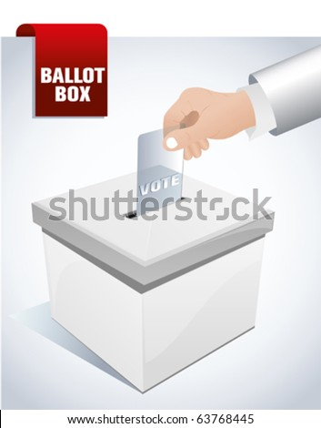 ballot box and hand putting a blank ballot inside, elections and democracy concept - stock vector