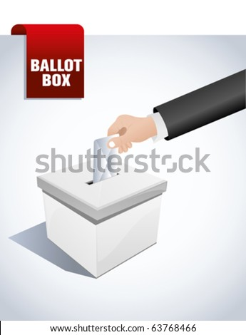 ballot box and hand putting a blank ballot inside, elections and democracy concept