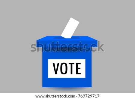 Ballot box for voting process in democracy election. Vector illustration