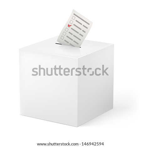 Ballot box with Ballot paper. Illustration on white background