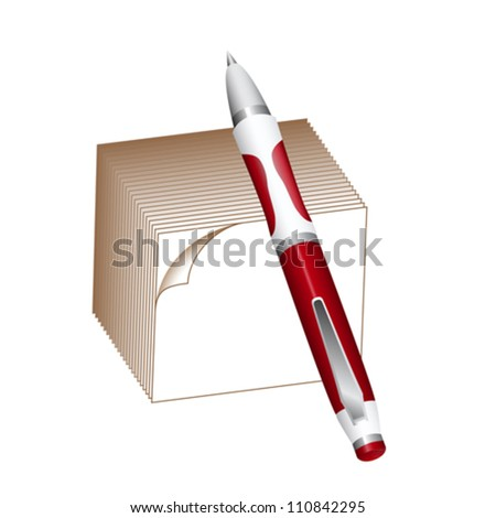 Ballpoint pen and note block isolated on white. EPS10 vector format