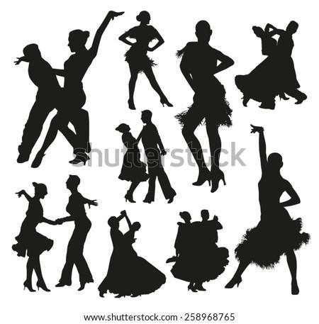 Ballroom Dancing Silhouette Vector Ballroom Dance Silhoue...