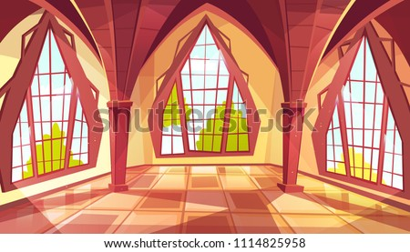 Ballroom with shaped windows vector illustration of royal gothic palace hall or royal chamber with yellow sun reflection on tiled floor. Flat cartoon ball room or museum interior background