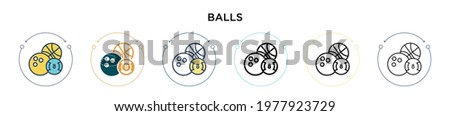 Balls icon in filled, thin line, outline and stroke style. Vector illustration of two colored and black balls vector icons designs can be used for mobile, ui, web Stockfoto ©