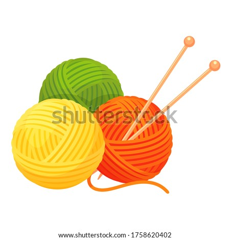 Balls of yarn with knitting needles. Clews, skeins of wool. Tools for knitwork, handicraft, crocheting, hand-knitting. Female hobby. Vector cartoon illustration isolated on white background.