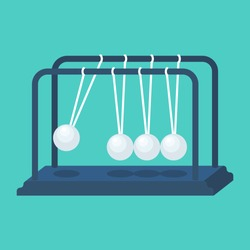 Balls pendulum. Start-up concept. Newton's cradle. Sphere hanging on threads. Vector illustration flat design. Isolated on background.