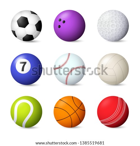 Balls set vector illustration. Bowling, baseball, football, snooker, tennis. Ball games concept. Vector illustration can be used for topics like sport, leisure, hobby