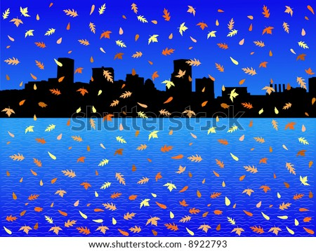 Baltimore Inner Harbor in autumn with falling leaves illustration