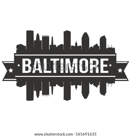 Baltimore Skyline Stamp Silhouette City Design