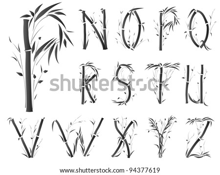 Bamboo alphabet font in asian style(Part 2).