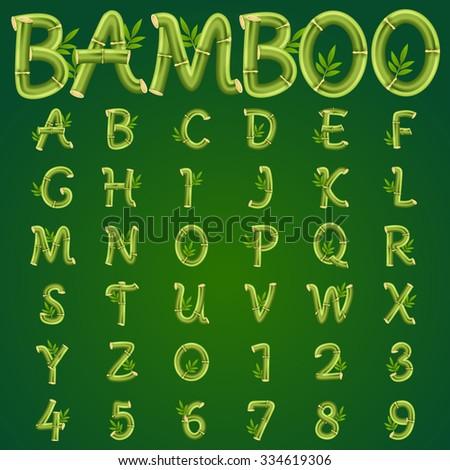 bamboo alphabet  vector art and