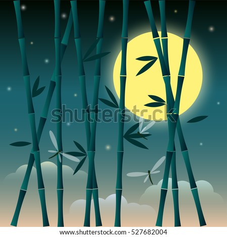 bamboo and dragonfly on the