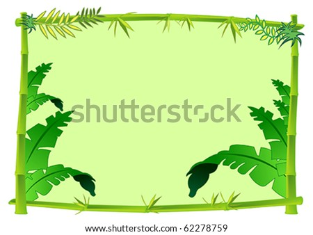 Bamboo and Jungle Frame Concept Illustration in Vector - stock vector