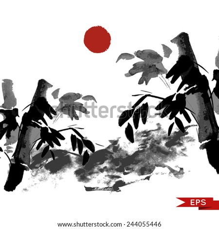 Bamboo and mountains ink landscape illustration. Sumi-e vector image.