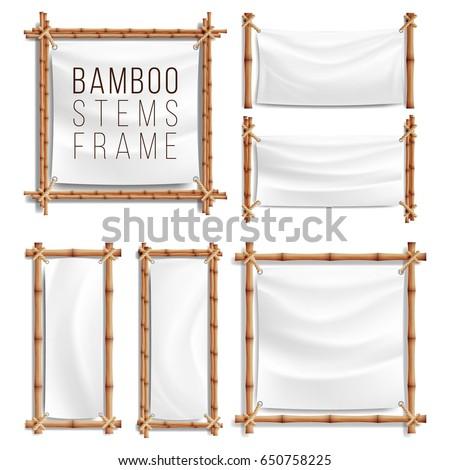 bamboo banner frame set vector