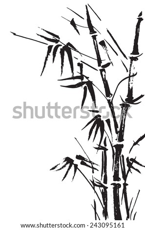 Bamboo branches isolated on the white background. Vector illustration