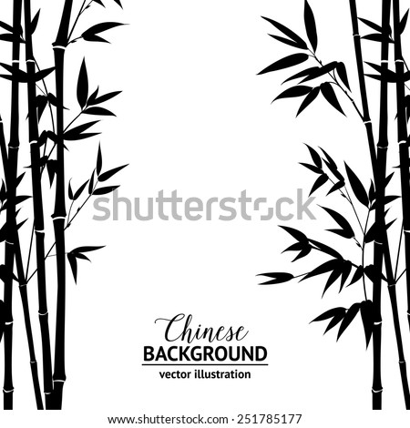 bamboo bush  ink painting over