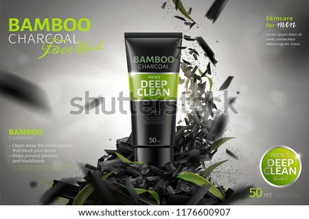 Bamboo charcoal face wash ads with crushed carbons flying in the air in 3d illustration