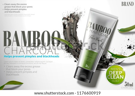Bamboo charcoal face wash ads with smear carbon powder in 3d illustration