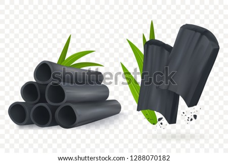 Bamboo charcoal vector illustration. Realistic Cosmetic charcoal isolated on transpartent background. Pieces of activated carbon. Natural component. Eps 10. Сток-фото ©